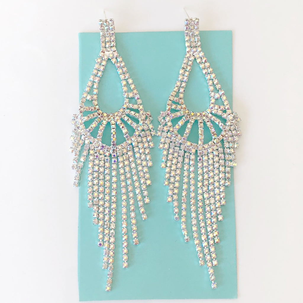 """ Backstage "" AB Iridescent Rhinestone Earrings On Silver Tone"