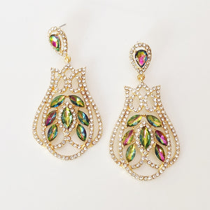 """ Cascade "" Greens, Pinks & Clear Rhinestone Earring On Gold Tone"