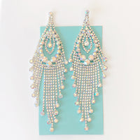 """ Stacked "" AB Iridescent Fringe Rhinestone Earrings On Silver Tone"