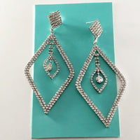 """ Positivity ""  Clear Rhinestone Diamond Shape Earrings On Silver Tone"