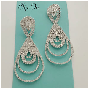 """ Teaser "" Clip On Clear Rhinestone Earrings on Silver Tone"