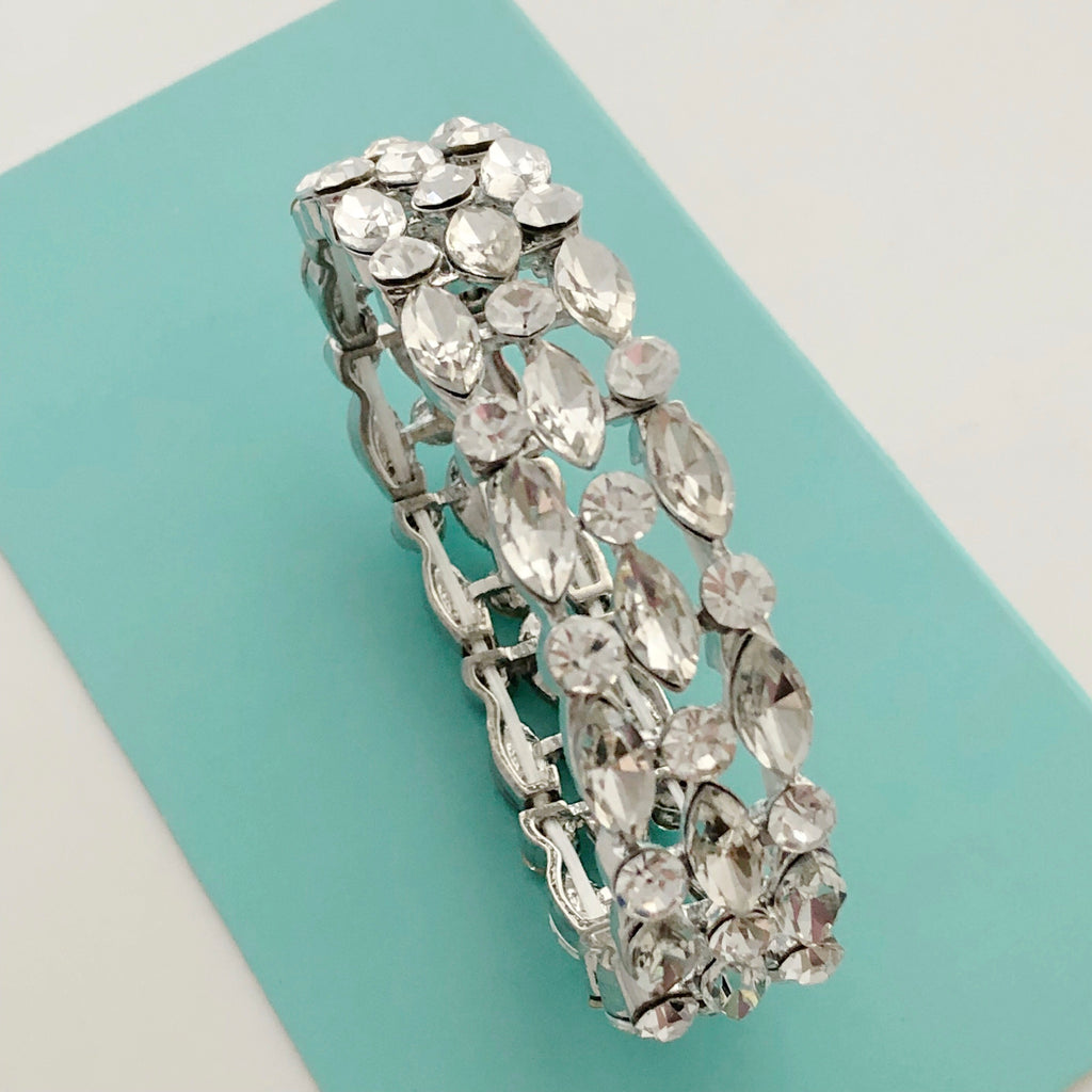 """ Line The Stage "" Clear Crystal Marquise Stretch Bracelet on Silver Tone"