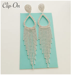 """ Take A Bow "" Clip On Long Fringe Earrings On Silver Tone"