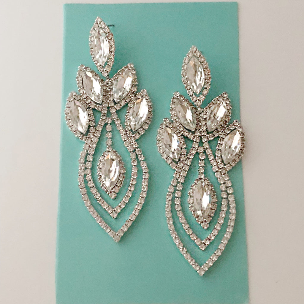 """ Fire Starter "" Clear Marquise Clear Crystal Rhinestone Earrings on Silver Tone"