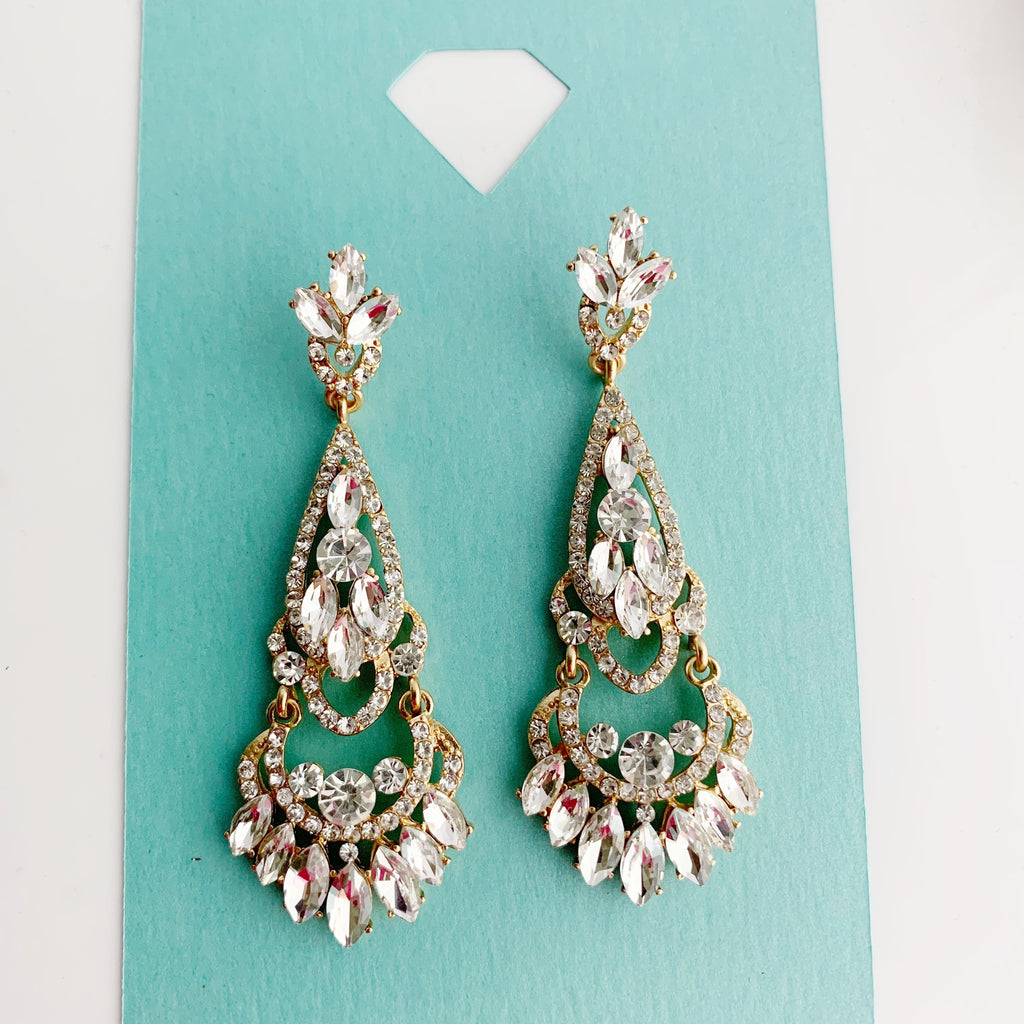 """ Glitter Girl "" Clear Rhinestone Chandelier Earrings on Gold Tone"