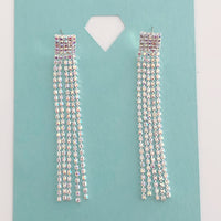 """ The Star "" AB Iridescent Rhinestone Earrings On Silver Tone"