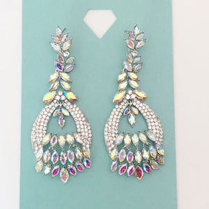 """ Decked Out "" AB Iridescent Chandelier Earrings on Silver Tone"