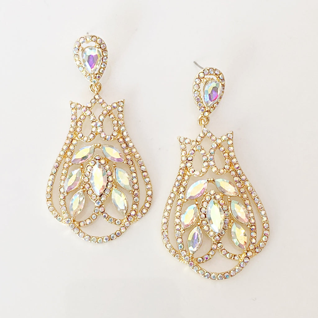""" Cascade "" AB Iridescent Crystal Earrings On Gold Tone"