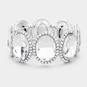 """ Be Bold "" Clear Crystal Rhinestone Stretch Bracelet on Silver Tone"