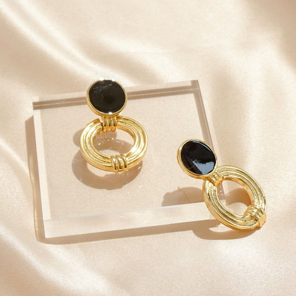 Black Enamel Textured Pierced Hoops
