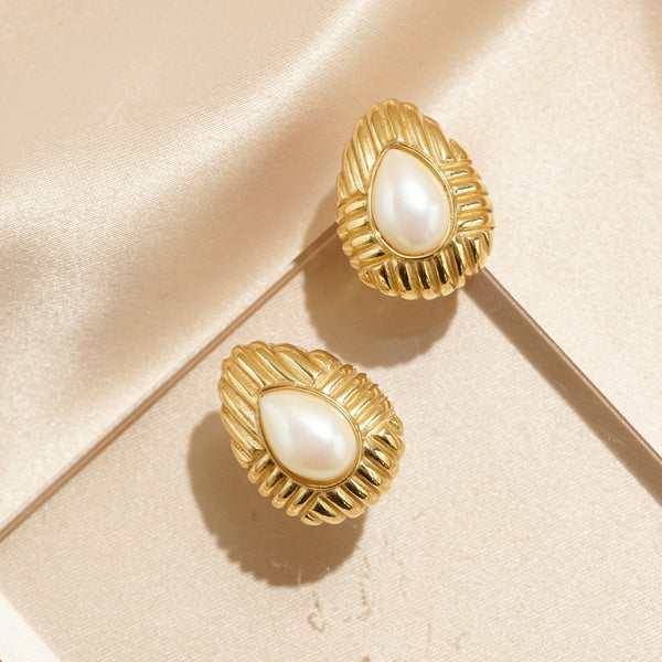 Textured Teardrop Pearl Clip Earrings