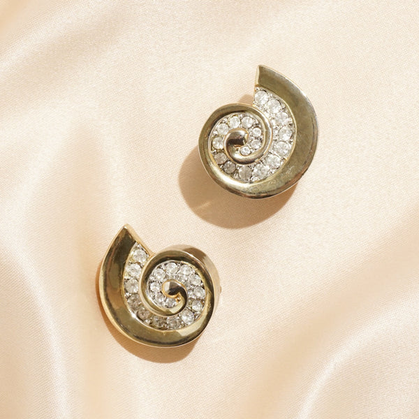Rhinestone Embedded Seashell Clip Earrings