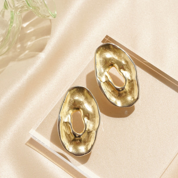 Gold Modernist Pierced Oval Earrings