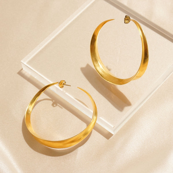 Dynamic Matte Gold Pierced Hoops