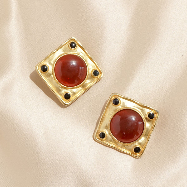 Etruscan Garnet Gripoix Square Clip Earrings