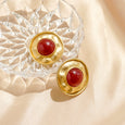 Etruscan Garnet Gripoix Round Clip Earrings