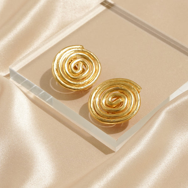 Rich Gold Plated Cirlicue Clip Earrings