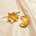 Chunky Star and Moon Clip Earrings