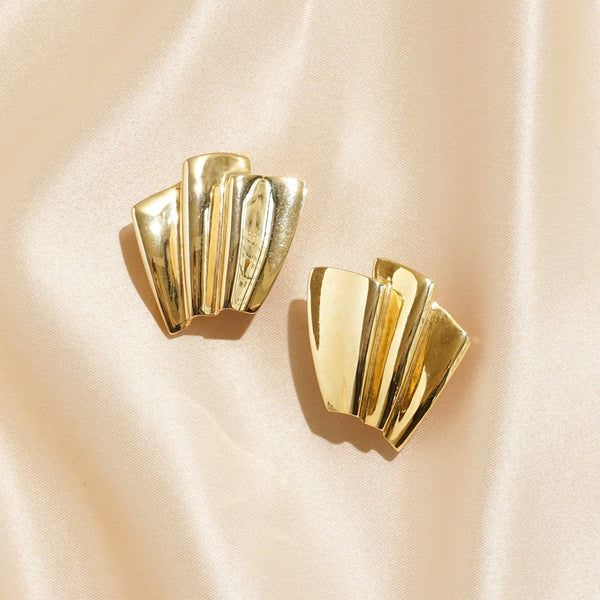 Gold Folded Fans Pierced Earrings