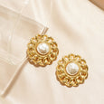 Baroque Pearl Center Clip Earrings