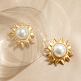 Dancing Sun and Pearl Center Clip Earrings