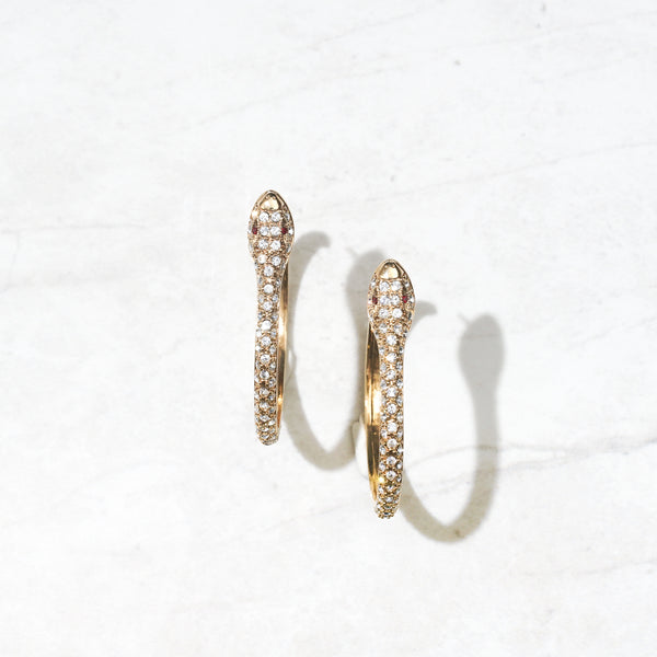 Ruby Eyed Snake Hoops
