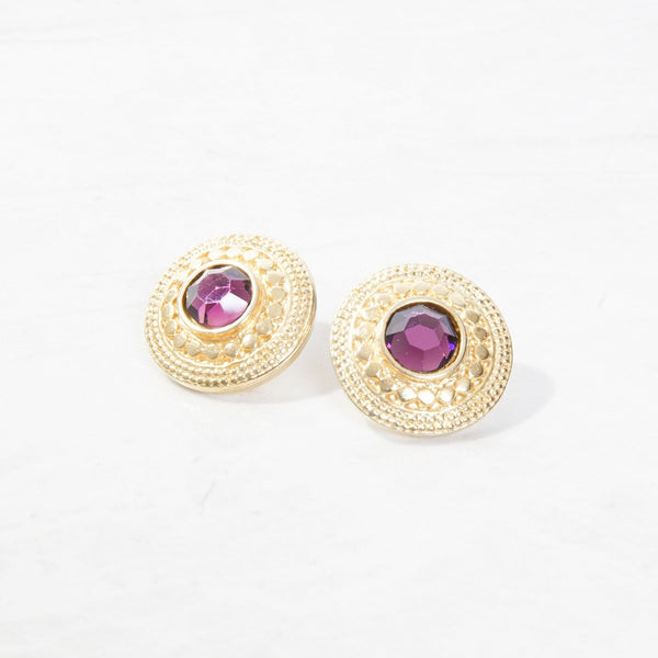 New Mermaid Vintage - 60's Unsigned Earrings - Amethyst - 1