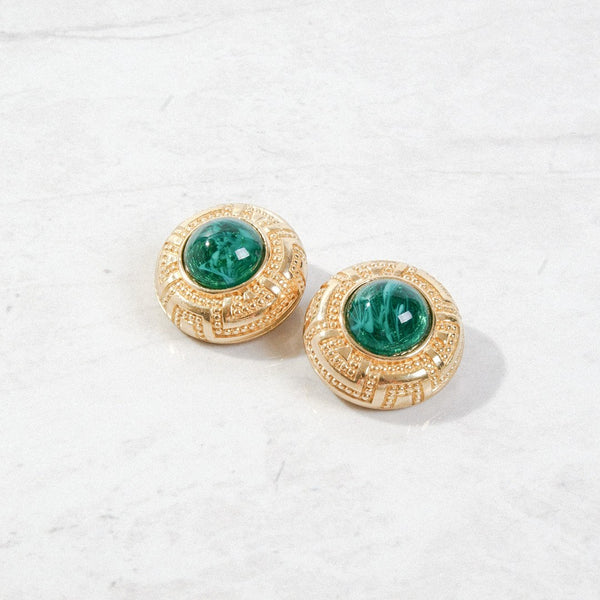 New Mermaid Vintage - 80's Dior Earrings - Dior Emerald Glass - 1