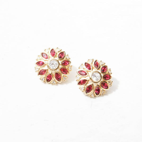New Mermaid Vintage - 80's Dior Earrings - Dior Pink Flowers - 1
