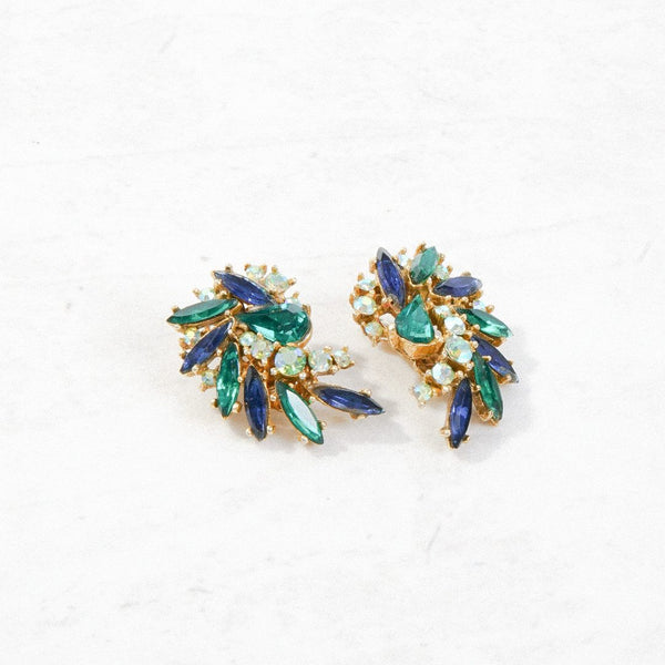 New Mermaid Vintage - 40's Art Earrings - Peacock - 1