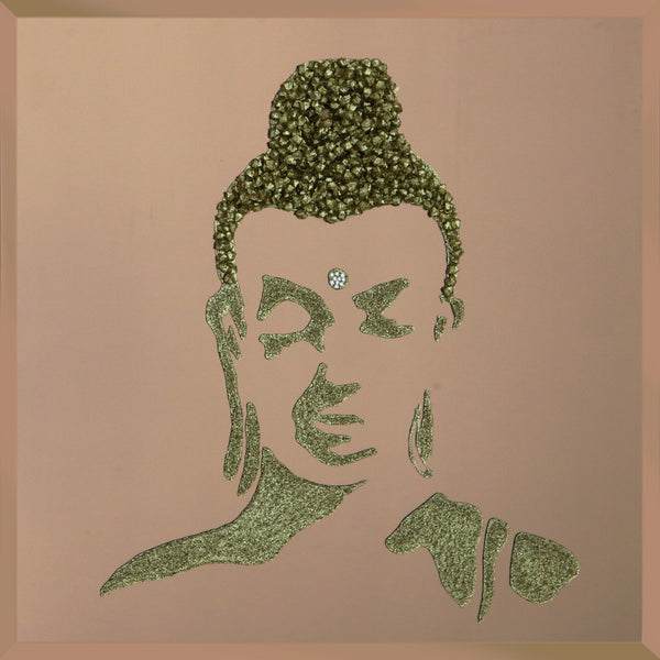 Gold Glitter Buddha Liquid Glass Wall Art On Bronze Glass
