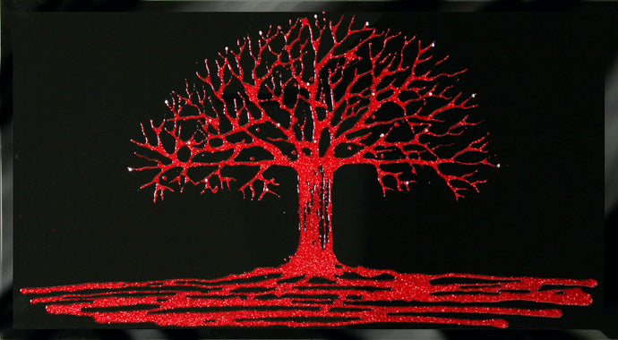 Red Glitter Tree Swarovski Crystal Liquid Glass Art