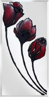 Three Stem Red Tulip Liquid Glass Art Mirror