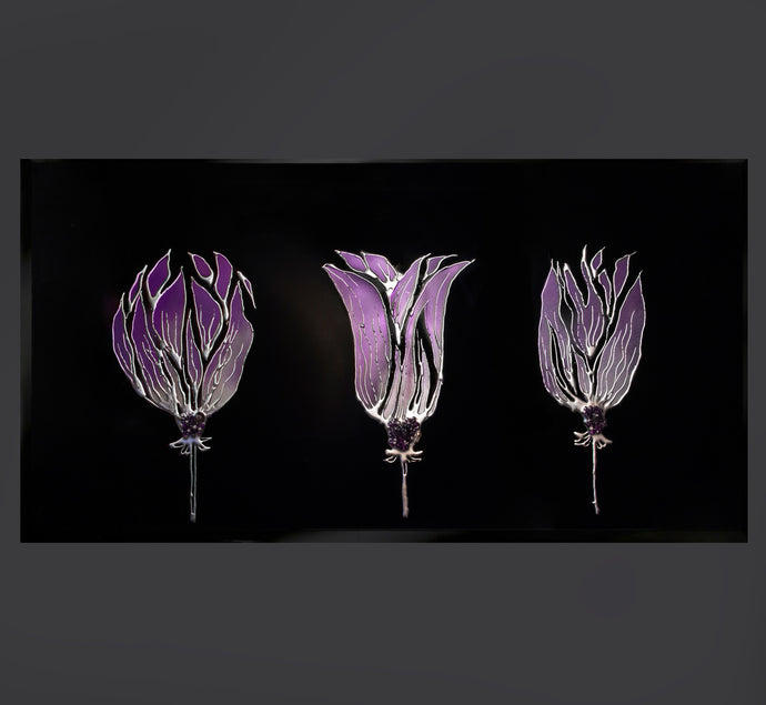 Triple Purple Tulip Black Glass Mirror Art