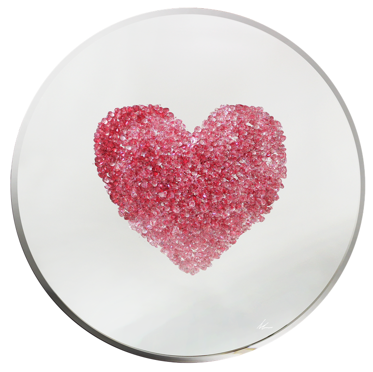Pink Glitter Heart Liquid Glass Wall Art On A Mirror