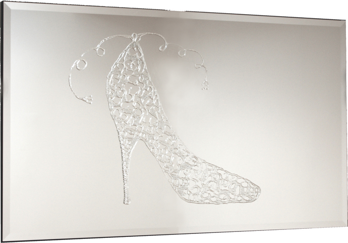 Silver Stiletto Heels Liquid Glass Art Mirror