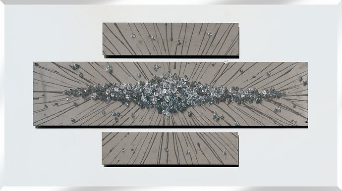 Abstract Triptych Silver Panels Liquid Glass Wall Art On A Mirror