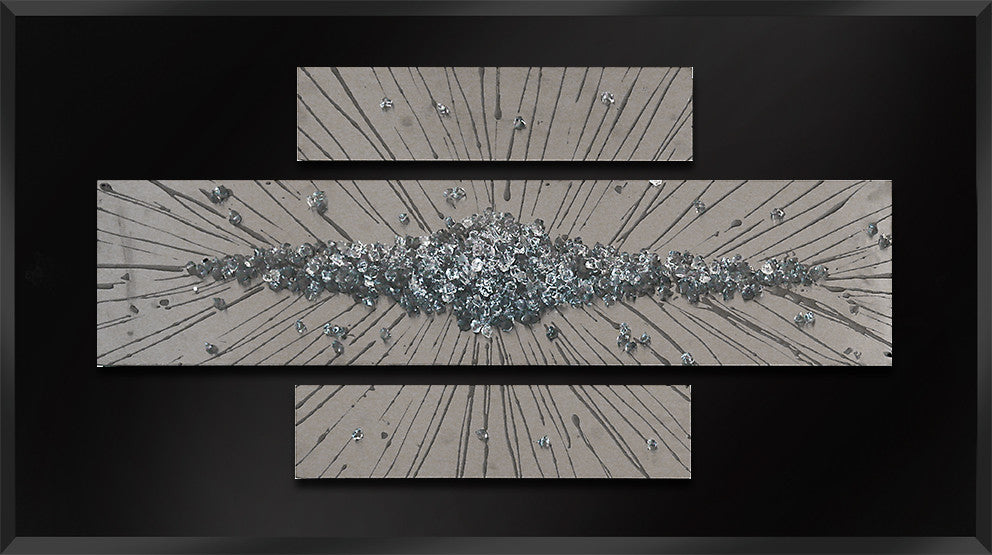 Abstract Triptych Silver Panels Liquid Glass Wall Art on Black Glass