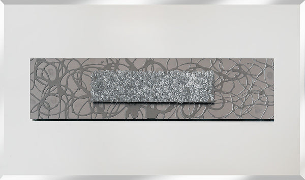 Dual Abstract Silver Panel Liquid Glass Wall Art On A Mirror