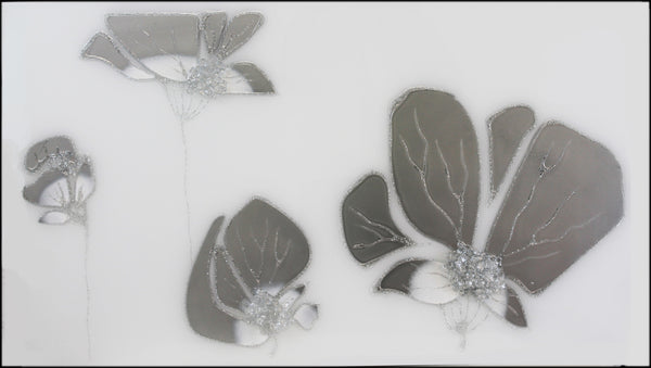 Quad Silver and White Poppies Liquid Mirror Art