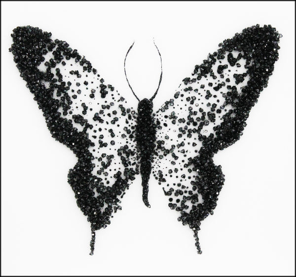 Black Cluster Butterfly Liquid Glass Wall Art On A White Glass Panel
