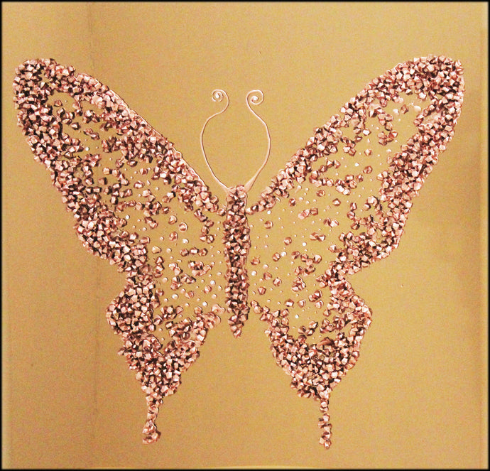 Copper Cluster Butterfly Liquid Glass Wall Art On A Bronze Glass Panel