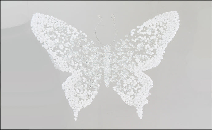 White Cluster Butterfly liquid Glass Wall Art