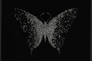 Silver Glitter Cluster Butterfly on Black Glass Mirror Art
