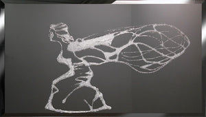 Flying Lady Liquid Glass Wall Art On Black Glass