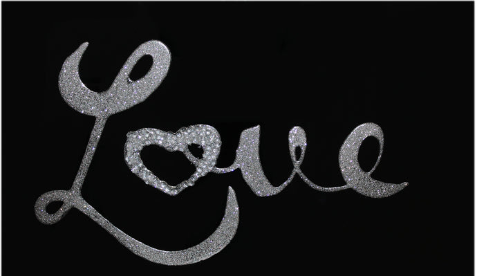 Silver Love on Black Glass Mirror Art