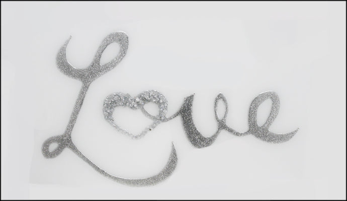 Silver Glitter Love on White Glass Mirror Art