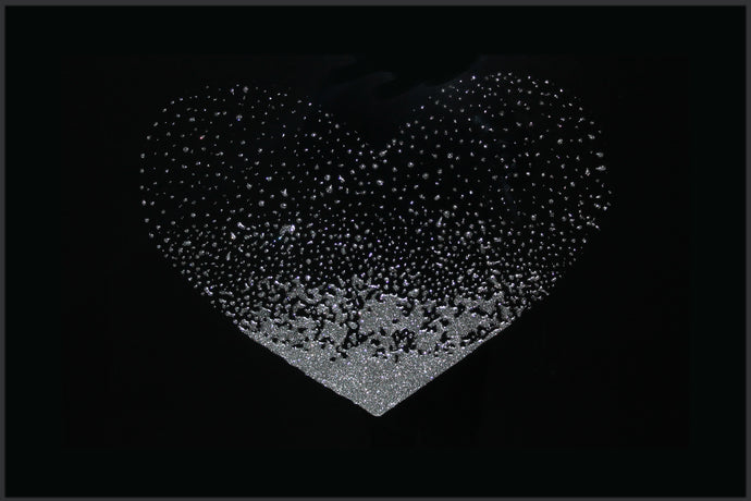 Silver Glitter Liquid Heart on Black Mirror Picture Art