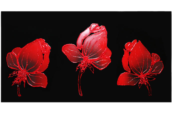 Three Red Flowers Black Glass Mirror Art