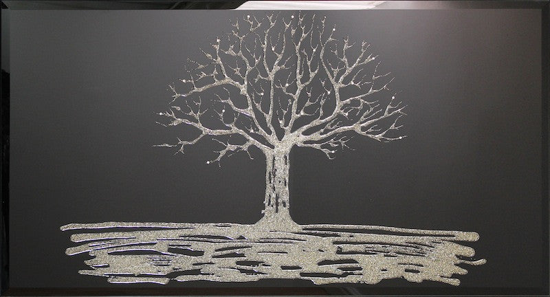 Gold Swarovski Tree Liquid Glass Wall Art On Black Glass